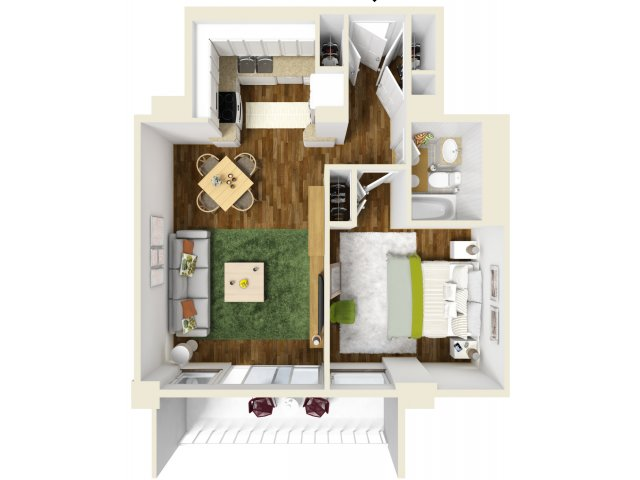 637 sq. ft. floor plan