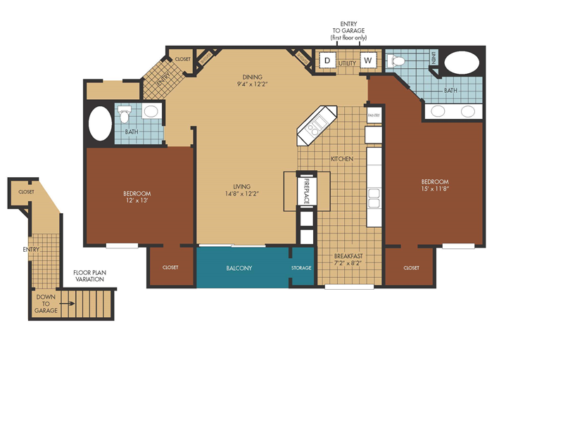 1,253 sq. ft. Jasmine floor plan