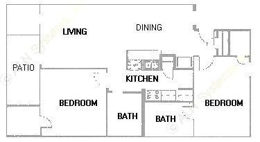 991 sq. ft. B5 floor plan