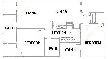 991 sq. ft. B5 floor plan