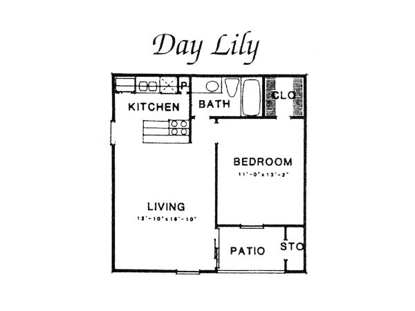 561 sq. ft. III A1 floor plan