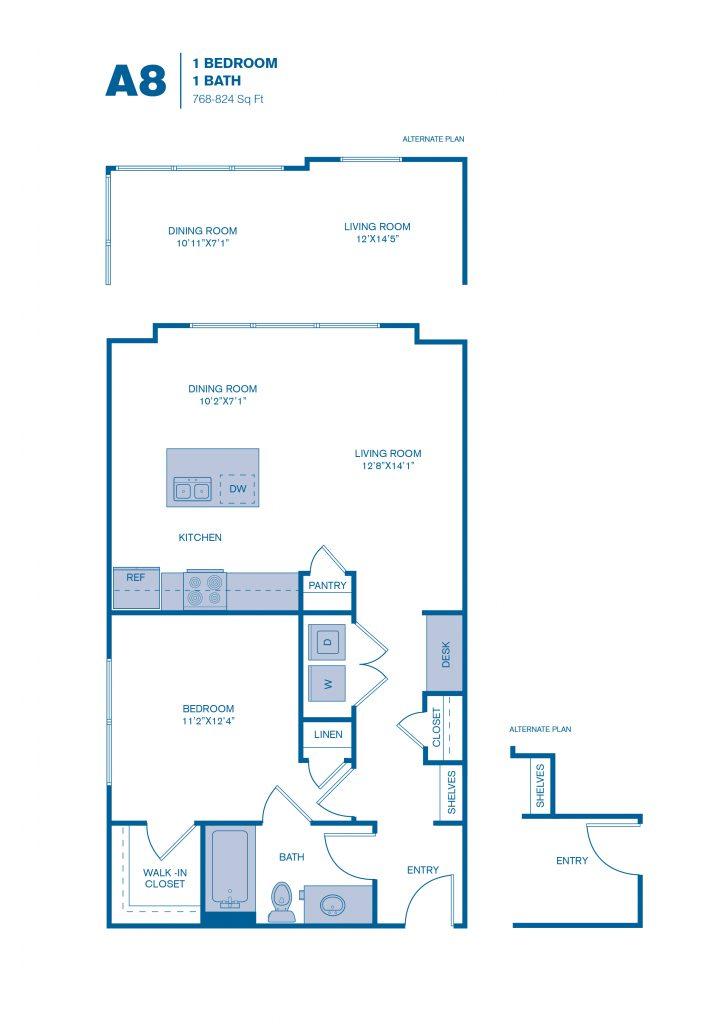 768 sq. ft. A8 floor plan