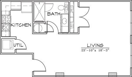 458 sq. ft. floor plan