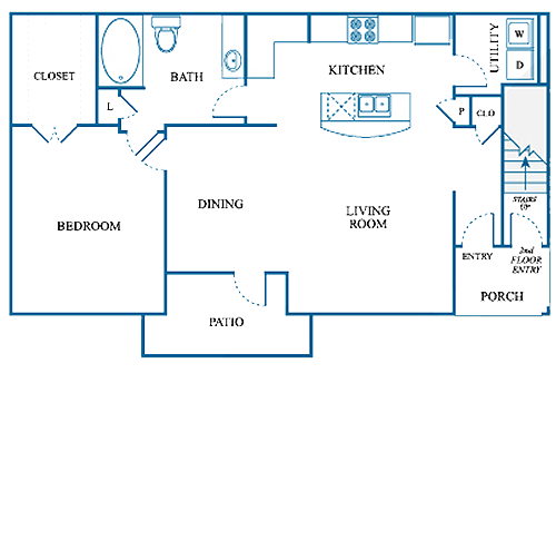 799 sq. ft. B1/DOWN floor plan