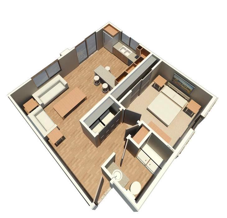 638 sq. ft. Alcove floor plan