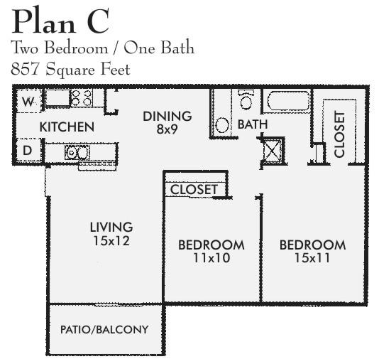 857 sq. ft. C floor plan