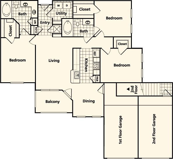 1,381 sq. ft. to 1,477 sq. ft. FGH floor plan