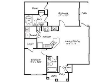 1,096 sq. ft. B1L floor plan