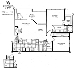 1,160 sq. ft. B3 floor plan