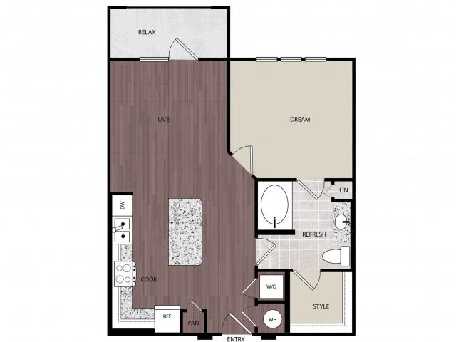 731 sq. ft. A2 floor plan