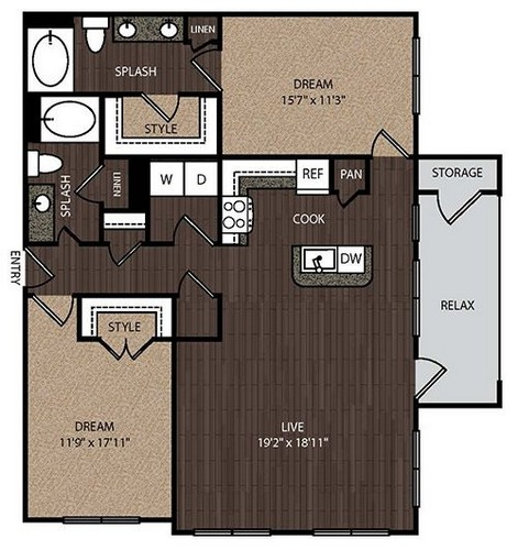 1,260 sq. ft. C3 floor plan