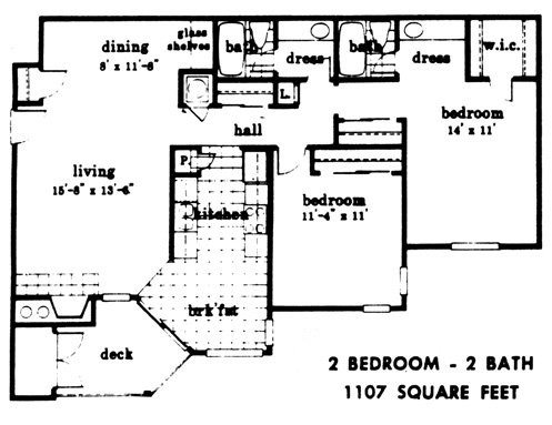 1,107 sq. ft. floor plan