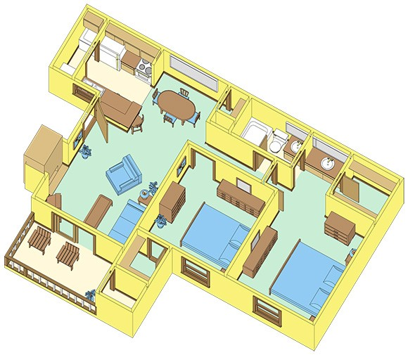 827 sq. ft. D floor plan