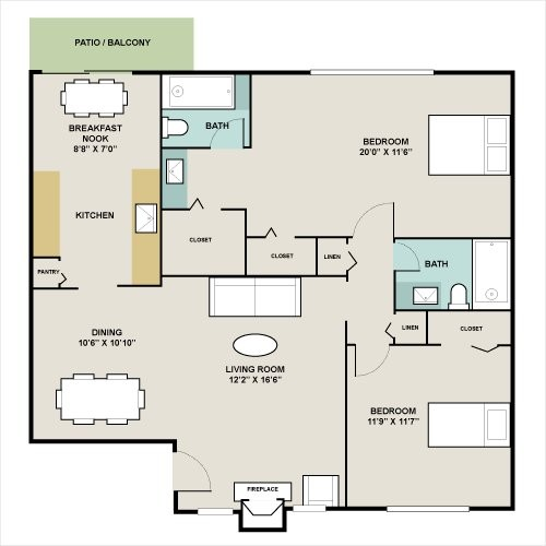 1,111 sq. ft. B2 floor plan