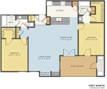 930 sq. ft. FT WORTH floor plan