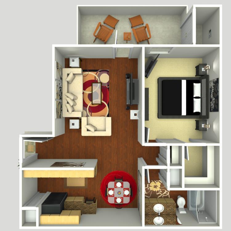 735 sq. ft. A2 floor plan