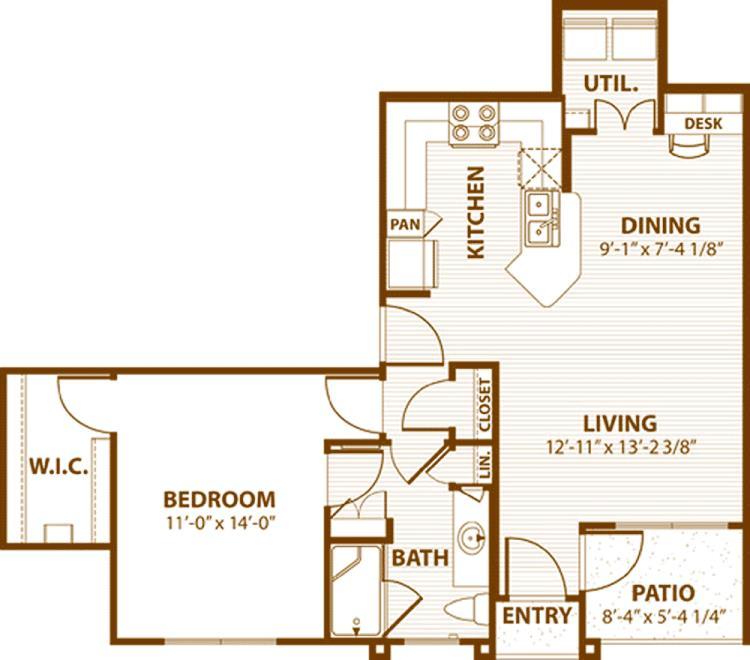 791 sq. ft. C1/50% floor plan