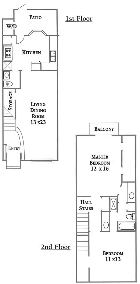1,242 sq. ft. Plan A floor plan