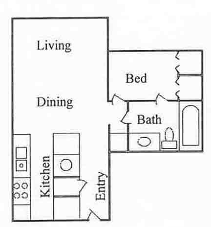 615 sq. ft. A-1 floor plan