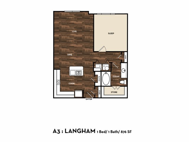 868 sq. ft. A3: Langham floor plan