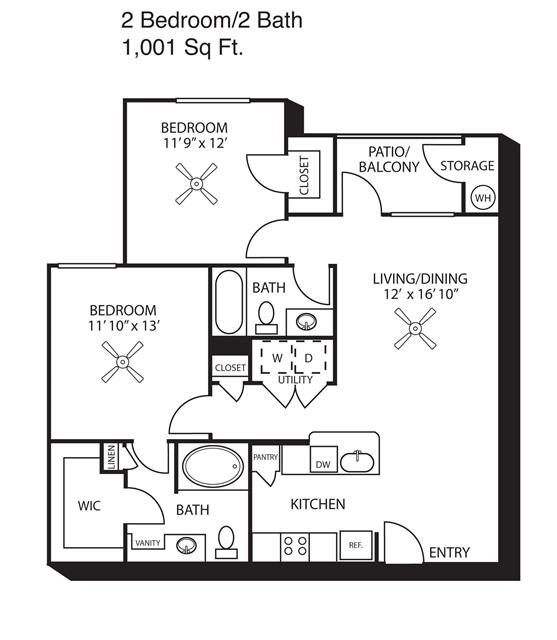 1,001 sq. ft. B2 floor plan