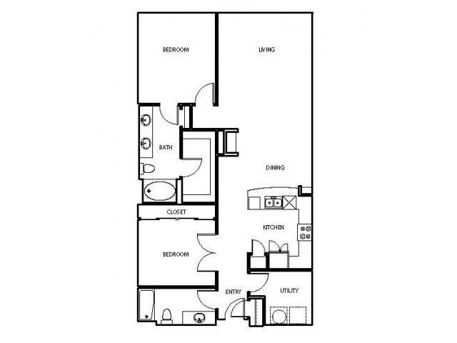 1,289 sq. ft. P2 floor plan