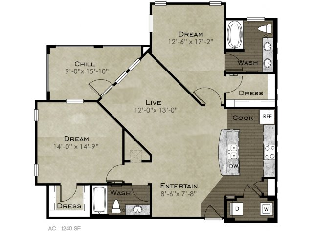1,240 sq. ft. Dessau floor plan