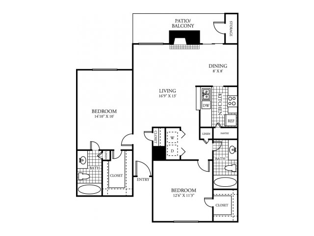 1,046 sq. ft. D floor plan