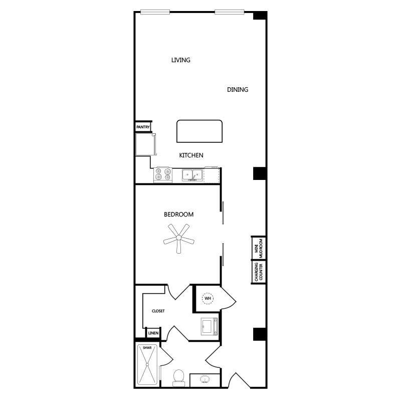 930 sq. ft. A3 floor plan