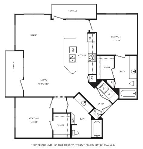 1,219 sq. ft. B11 floor plan