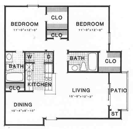 929 sq. ft. III B1 floor plan