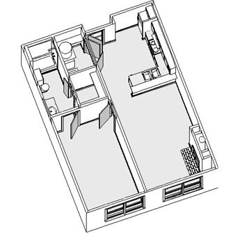 679 sq. ft. to 688 sq. ft. floor plan