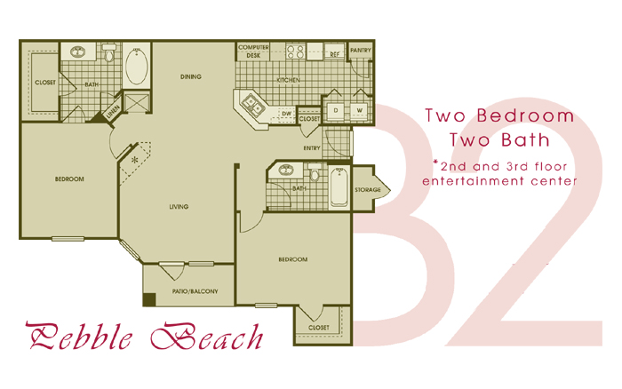 1,150 sq. ft. PEBBLE floor plan