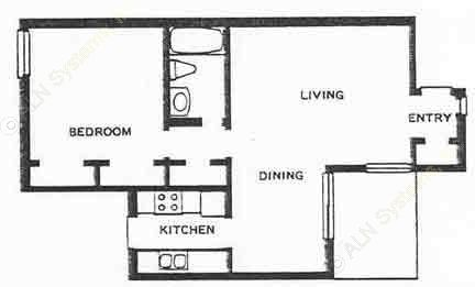 670 sq. ft. 1A floor plan