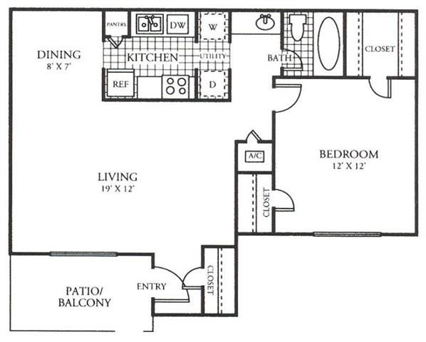 698 sq. ft. A floor plan