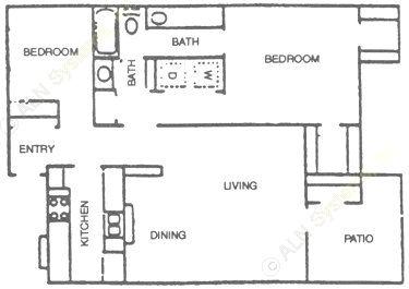 987 sq. ft. A3 floor plan