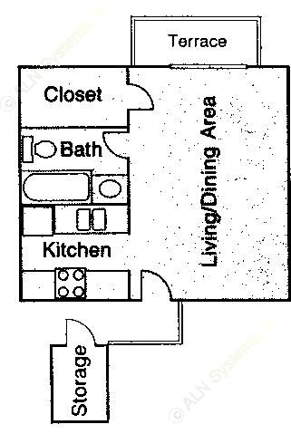 446 sq. ft. EFF floor plan
