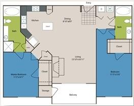 1,167 sq. ft. B4 floor plan
