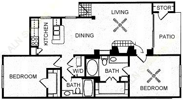1,022 sq. ft. GUADALUPE floor plan