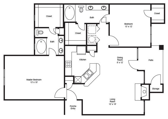 1,195 sq. ft. B5 floor plan