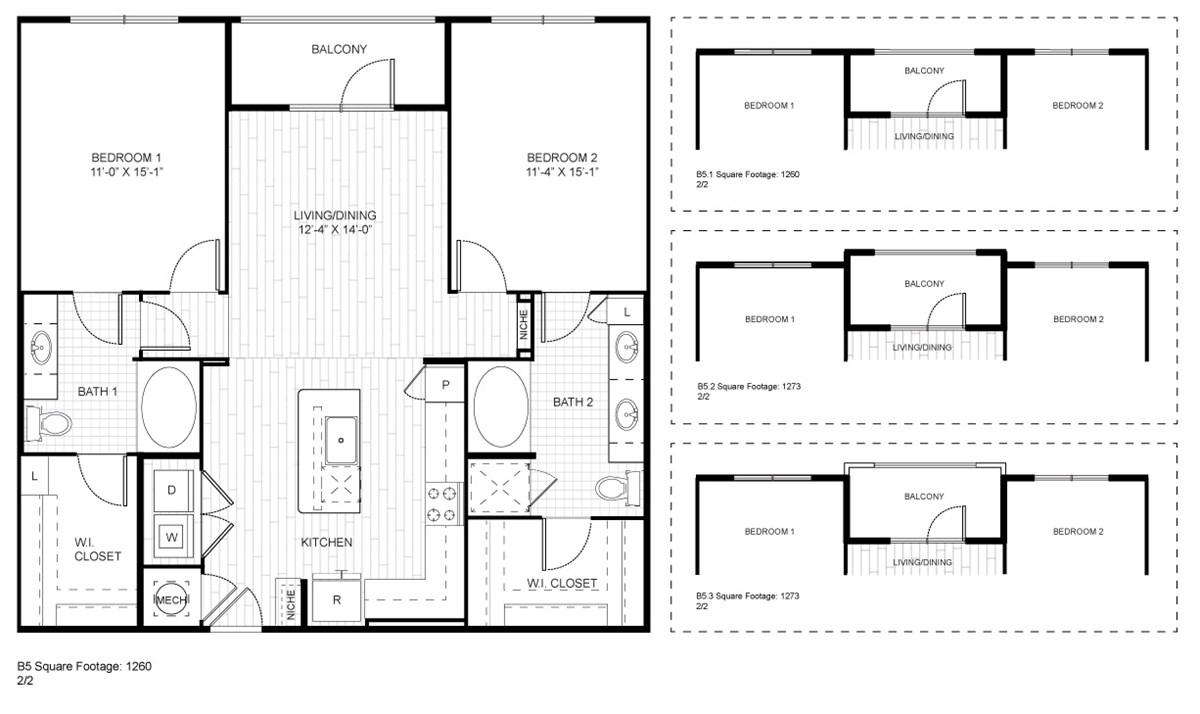 1,260 sq. ft. to 1,273 sq. ft. B5 floor plan