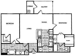 1,037 sq. ft. B3 floor plan
