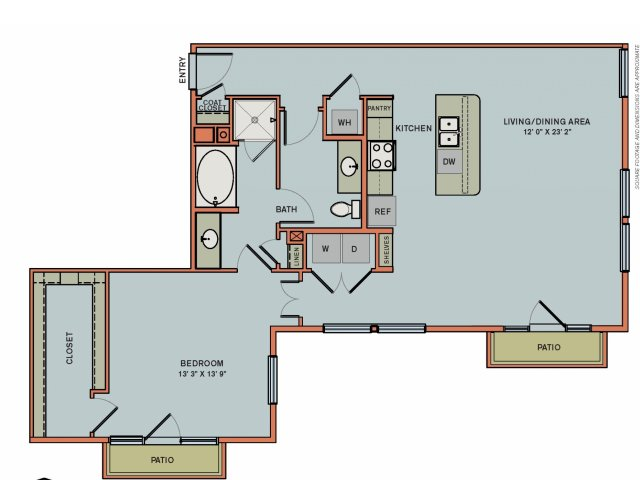 1,095 sq. ft. 2A5 floor plan