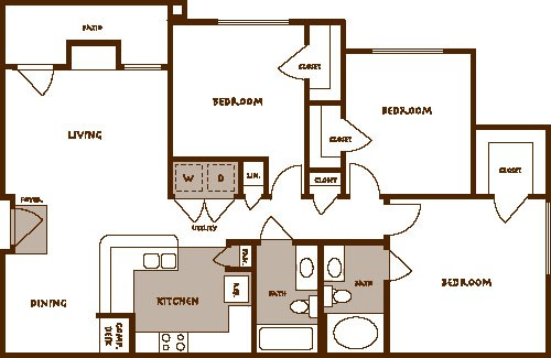 1,258 sq. ft. Carina C1 floor plan