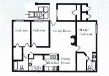 1,100 sq. ft. F floor plan