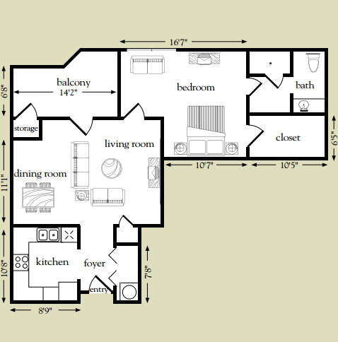 814 sq. ft. Sabine floor plan