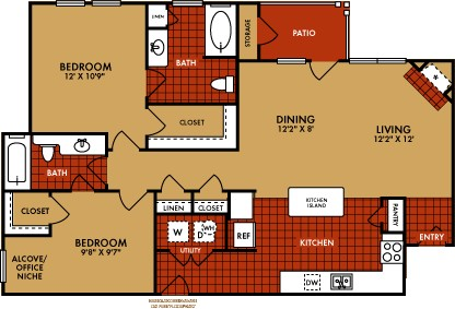 1,088 sq. ft. Breckenridge (B3) floor plan