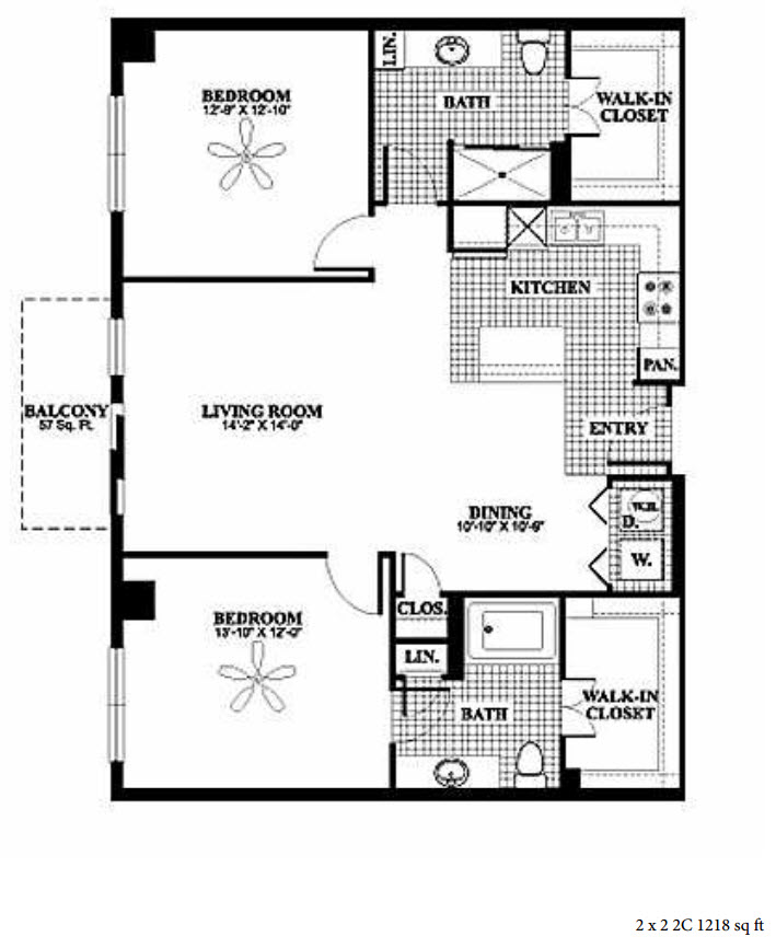 1,218 sq. ft. 2C floor plan