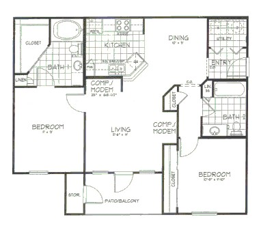 1,024 sq. ft. Maple floor plan