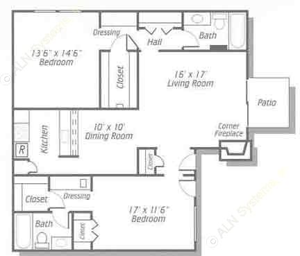 1,210 sq. ft. B4 floor plan
